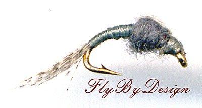 WD40 Gray Nymph - Twelve Hook Size 18 Fly Fishing Flies