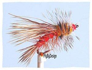 Orange Stimulator, One Dozen Hook Size 14 Fishing Flies