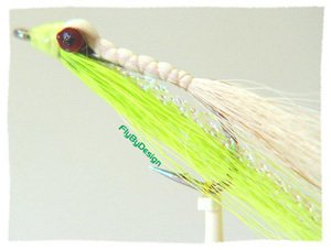 Clouser Minnow Chartreuse\White Fly  Hook Size 6 Flies