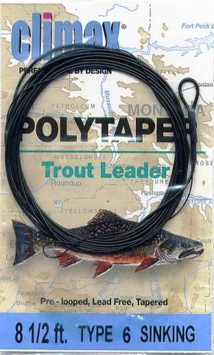 Climax 8.5 ft Sinking PolyTaper Trout Fly Fish Leader