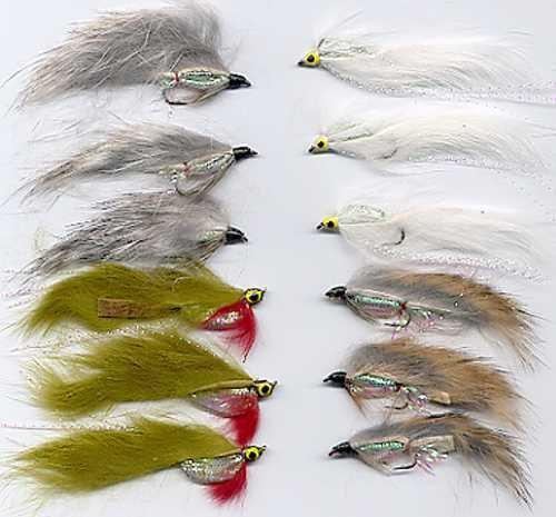 White Zonker Fly Fishing Flies - Twelve Hook Size 10