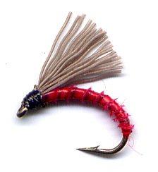 Red Biot Serendipity Fishing Flies - Twelve Size 18 Fly