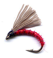 Red Biot Serendipity Fishing Flies - Twelve Size 16 Fly
