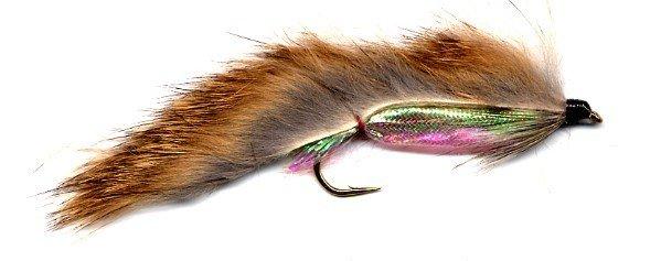Zonker Brown & Pearl Fishing Flies - Twelve Hook Size 8