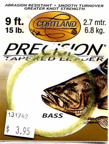 Cortland 15 Lb test 9 Ft Precision Bass Tapered Leader