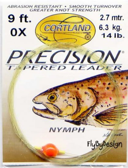 Cortland 0x 14 Lb Nymph 9 Foot Precision Tapered Leader