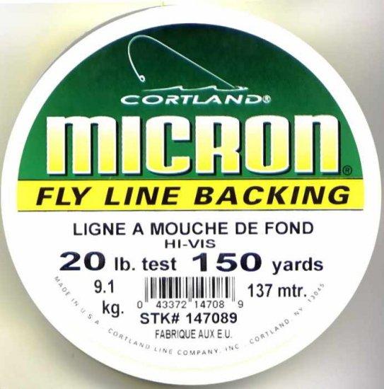 Cortland Micron Yellow Fly Line Backing - 20 LB 150 YDS