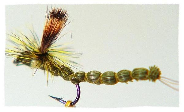Green ParaDrake Fly - Twelve Size 14 Fly Fishing Flies