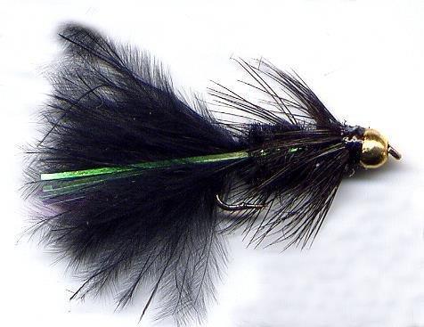 Bead Head Black Woolly Bugger Fly Twelve Hook Size 12