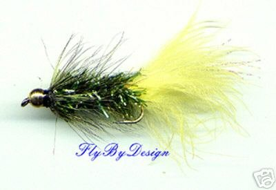 BH Yellow Olive Crystal Woolly Bugger - Twelve Size 12