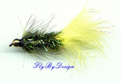 BH Yellow Olive Crystal Woolly Bugger - Twelve Size 14