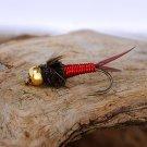 Red Copper John Nymph Fly  -  Twelve Hook Size 18 Flies