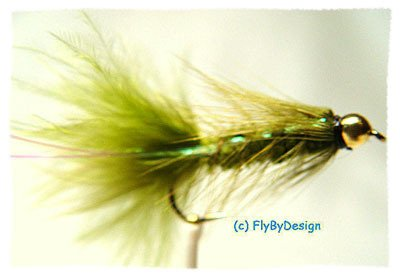 BH Olive Woolly Bugger Fishing Flies - Twelve Size 14