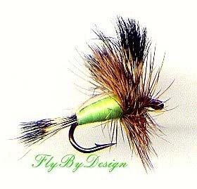 Chartreuse Humpy - Twelve Deadly Hook Size 8 Dry Flies
