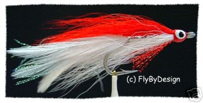 Red & White Deceiver Fly Fishing Flies -Twelve Size 3/0