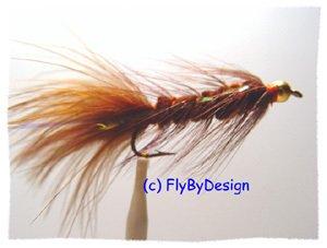 Bead Head Brown Woolly Bugger - Twelve Size 16 Flies