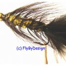 BH Olive/Black Woolly Bugger Flies -Twelve Hook Size 6