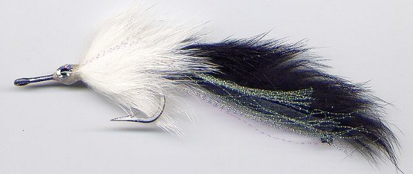Black & White Pikie Fly - Six # 3/0 Pike Fishing Flies