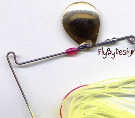 Terminator 3/8 oz Chartreuse Red Stainless Spinner Bait