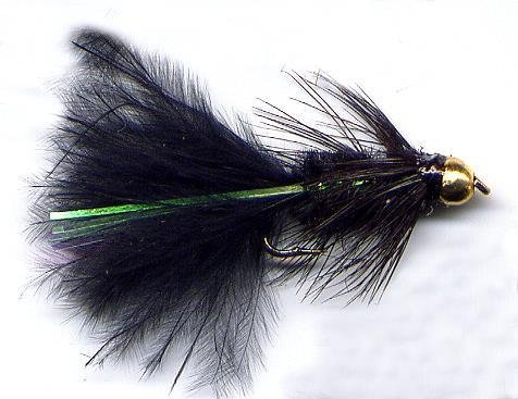 Bead Head Black Woolly Bugger Fly Twelve Hook Size 10