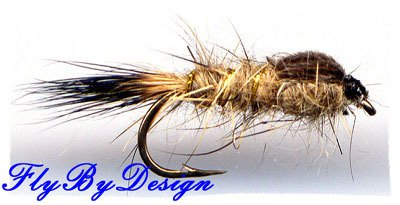 Gold Ribbed Hares Ear Nymph Twelve Size18 Fishing Flies