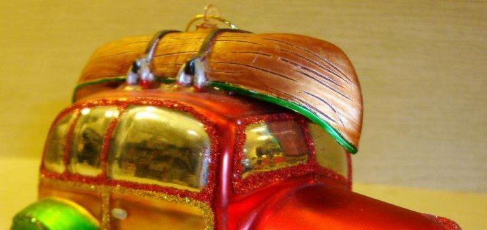 Colorful Fishing Canoe & Car Christmas Tree Ornament