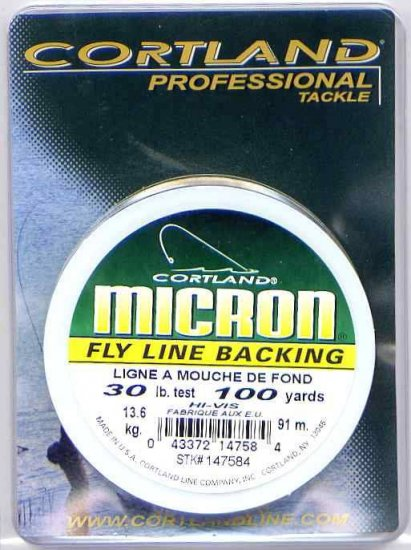 Cortland Micron Yellow Fly Line Backing - 30 LB 100 YDS