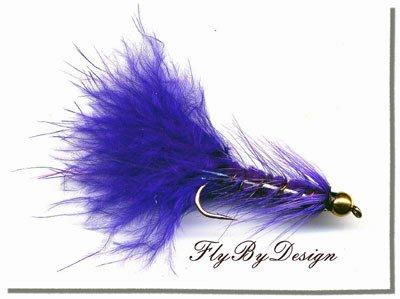 BH Purple Woolly Bugger Fishing Flies (12) Hook Size 16
