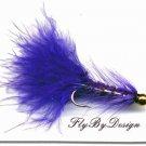 BH Purple Woolly Bugger Fishing Flies (12) Hook Size 12