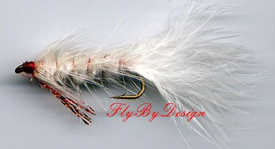 Red & White Woolly Bugger Fly - Twelve Size 10 Flies