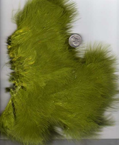 Premium Dyed 1 Ounce Olive Strung Marabou Feathers