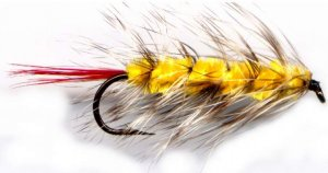 Yellow Wooly Worm Fly Fishing Fly - One Hook Size 6 Fly