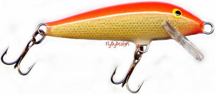 "Rapala F05 GFR - Gold Fluorescent Red 2"" Lure w/ papers"