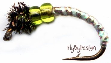 Olive Caddis Midge Larva Twelve Fly Fishing Flies #12