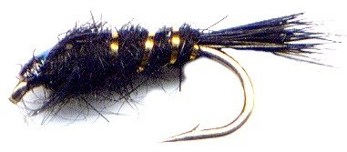 Black FB Gold Ribbed Hares Ear Nymph Fly Twelve Size 18