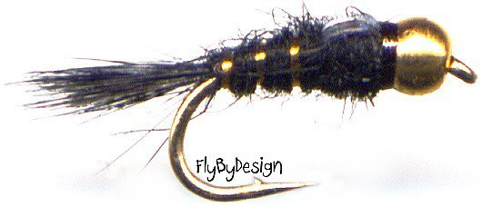 Bead Head Black Gold Ribbed Hares Ear Nymph Fly Fishing Flies - Twelve NEW Flies