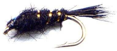 Black Gold Ribbed Hares Ear Nymph Fly Fishing Flies - Twelve NEW Deadly Flies