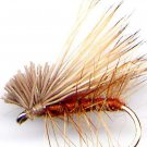 Brown Elk Hair Caddis Fly Fishing Flies - Twelve NEW Premium Choice of Hook Size