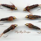 Bead Head Halfback Nymph - Twelve Fly Fishing Flies - Choice of Hook Size