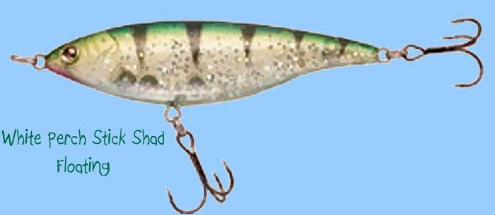 "Sebile 3-1/2"" Perch Stick Shadd Fishing Lure, Floating, 3/8 oz"