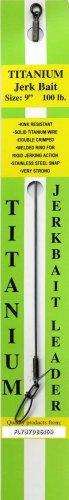 "Solid Titanium Jerk Bait Leader 9""/100 Lb Test Leader - with Welded Ring & Snap"