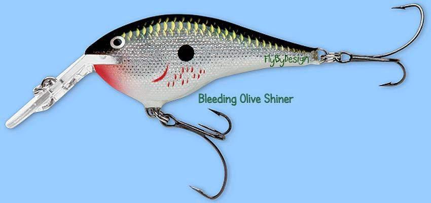 Rapala Bleeding Olive Shiner DT Thug (DTTSS BOS) Lure w/ VMC SureSet Hooks