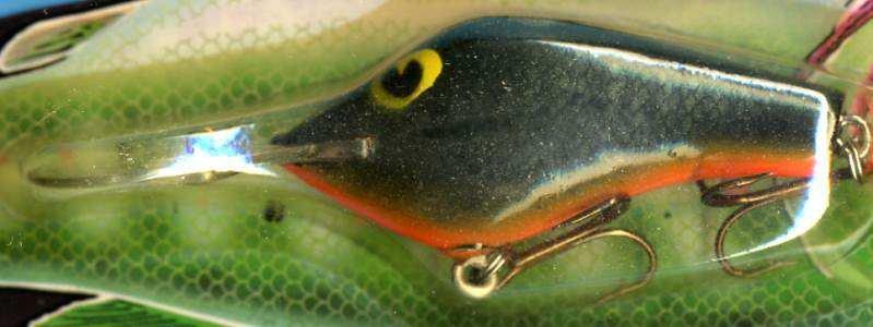 Vintage POE'S SUPER CEDAR Green/Orange Crawdad 337 Lure
