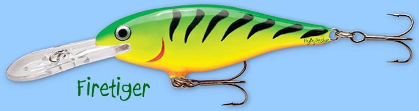 Rapala FireTiger Shad Rap Balsa Hardbait Deep Diving Fishing Lure (SR07 FT)