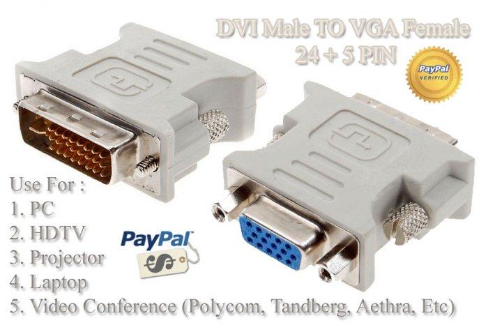 DVI Male To VGA Female 24 + 5 PIN Adapter