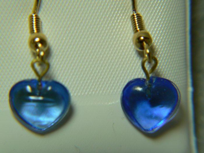 Sapphire Cornflower Blue Heart French Hook Earrings
