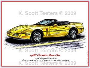 1986 Corvette Pace Car Laser Color Print