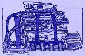 426 Blown Hemi Engine Diazo Print