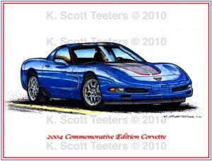 2004 Commemorative Edition Corvette Laser Color Print