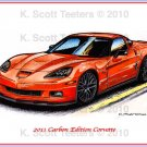 2011 Carbon Edition Corvette Laser Color Print